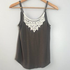 Aritzia Talula Grey Tank Top with Lace Details